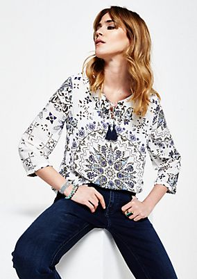 Casual 3/4-sleeve blouse with a decorative all-over print from s.Oliver