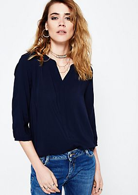 Casual top with 3/4-length sleeves and fine details from s.Oliver