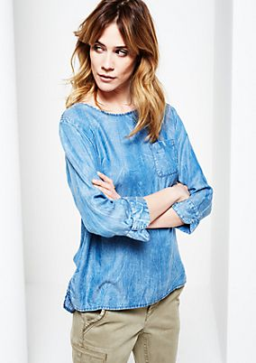 Lightweight denim blouse with a vintage garment wash from s.Oliver