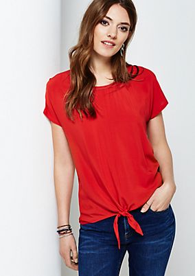 Elegant short sleeve top with decorative knots from s.Oliver