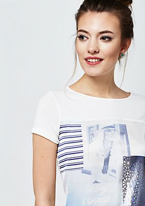 Soft short sleeve jersey T-shirt with photo print from s.Oliver