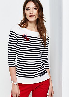 Sporty top with 3/4-length sleeves and a classic striped pattern from s.Oliver