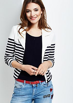 Casual zip-up sweatshirt with a fine ribbed pattern from s.Oliver