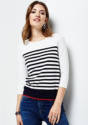 Lovely jumper with a trendy striped pattern and 3/4-length sleeves from s.Oliver