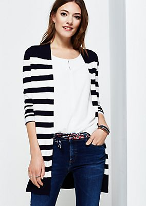 Casual long cardigan in a striped look from s.Oliver