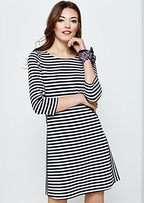 Sporty casual dress with 3/4-length sleeves and a summery striped pattern from s.Oliver