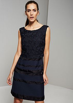 Elegant evening dress with sophisticated crocheted details from s.Oliver