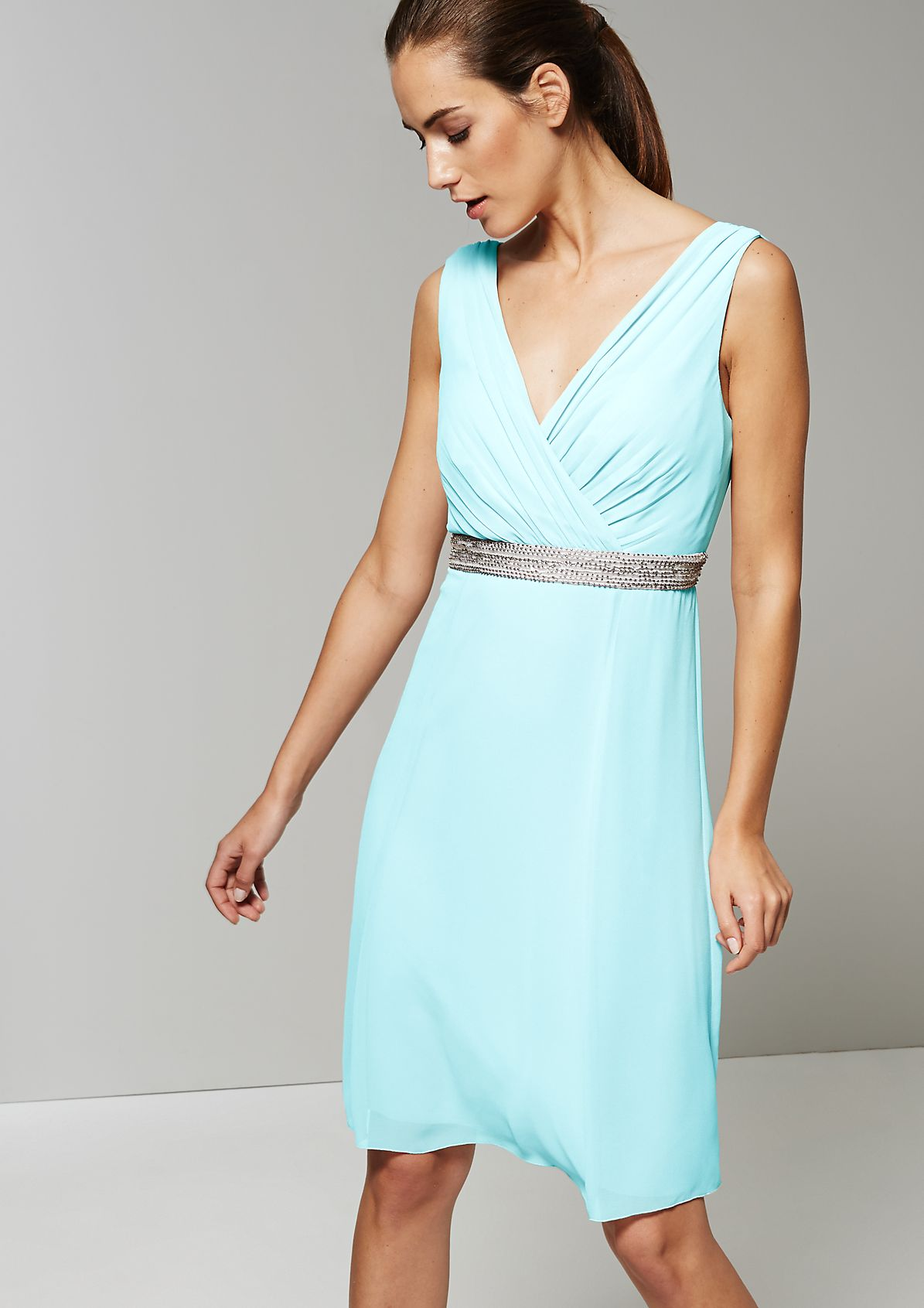 Elegant crêpe dress with a beautiful sequin trim from s.Oliver