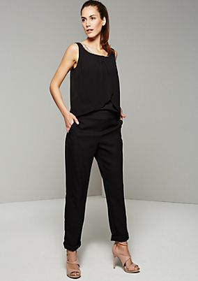 Glamorous jumpsuit with a sparkly gemstone trim from s.Oliver