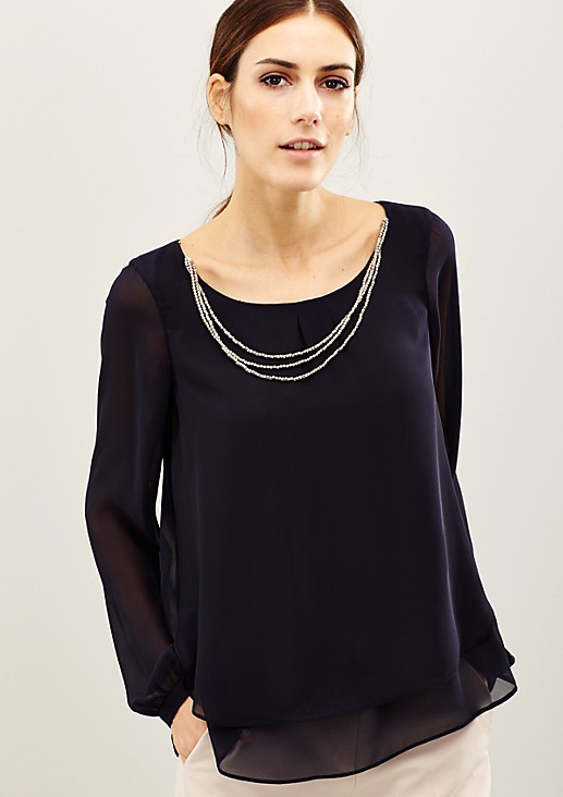 Delicate blouse embellished with a glittering decorative chain from s.Oliver