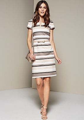 Elegant satin dress in a striped design from s.Oliver