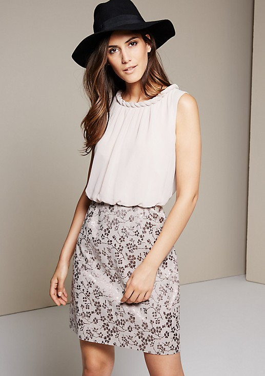 Sleeveless dress in a sophisticated mix of fabrics from s.Oliver
