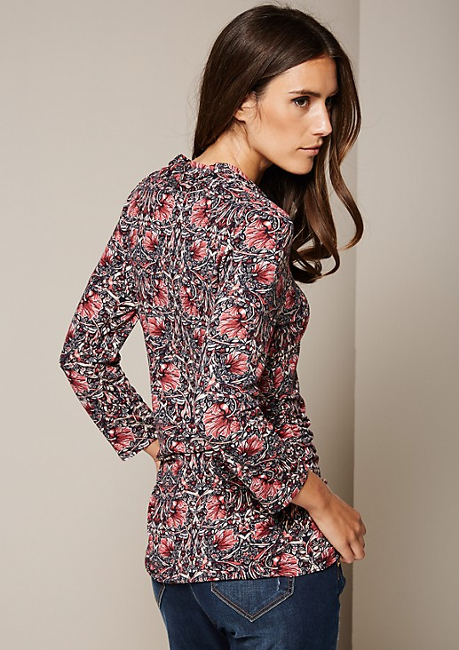 Fine long top with 3/4-length sleeves and a colourful all-over print from s.Oliver