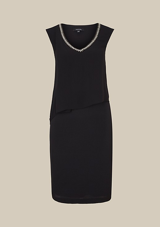 Elegant evening dress with a shiny gemstone trim from s.Oliver