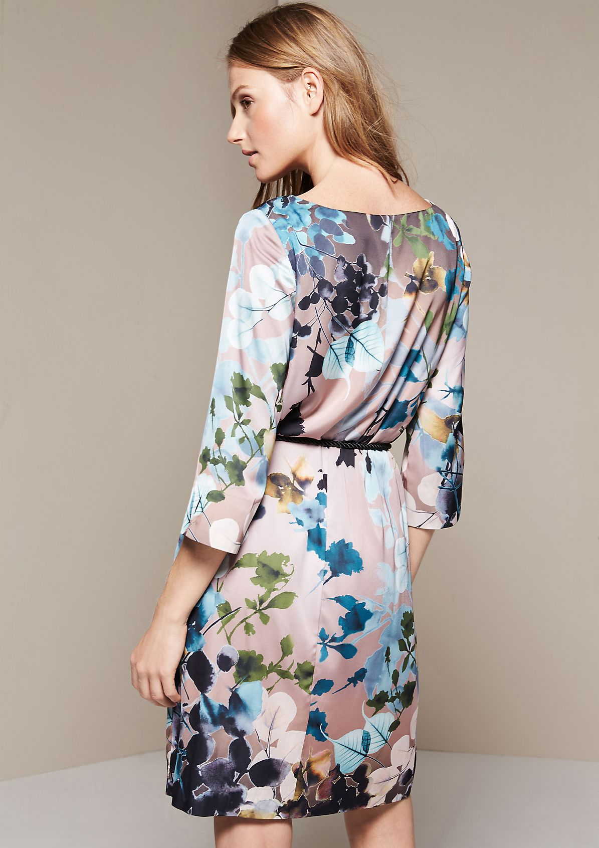 Glamorous satin dress with a richly coloured all-over print from s.Oliver