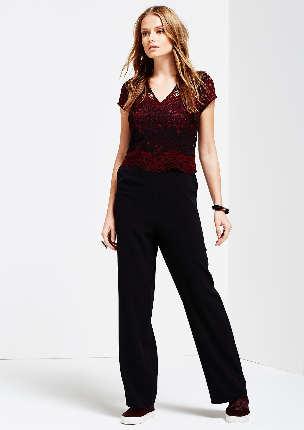 Glamorous jumpsuit with a delicate lace trim from s.Oliver
