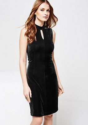 Elegant velvet dress with decorative slits from s.Oliver