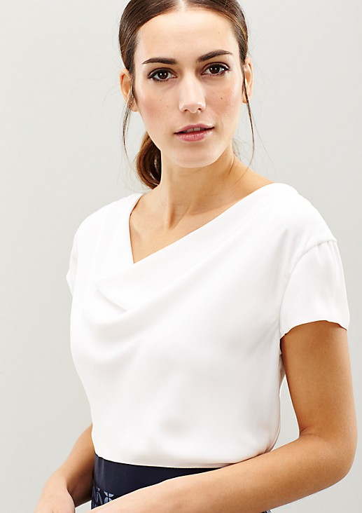 Elegant satin dress with a sophisticated minimal pattern from s.Oliver