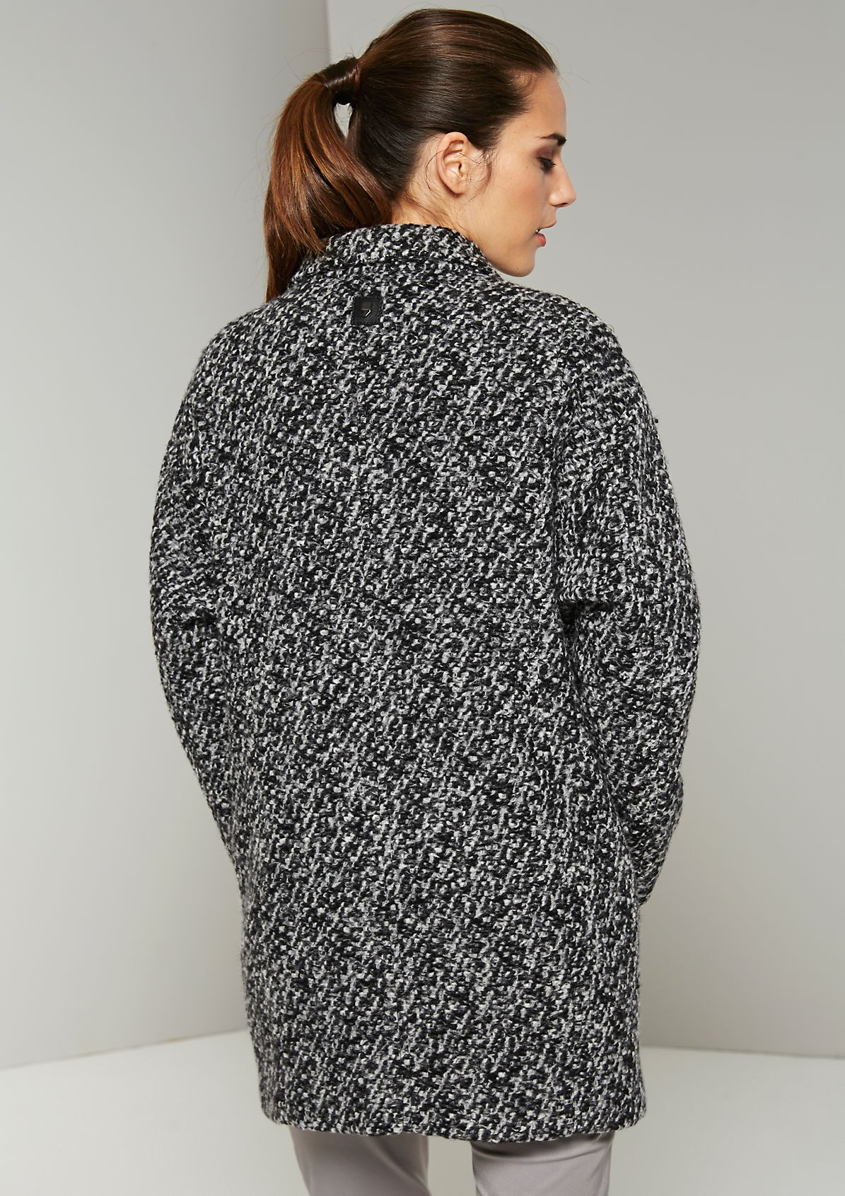 Soft autumn coat in a trendy mottled black & white finish from s.Oliver