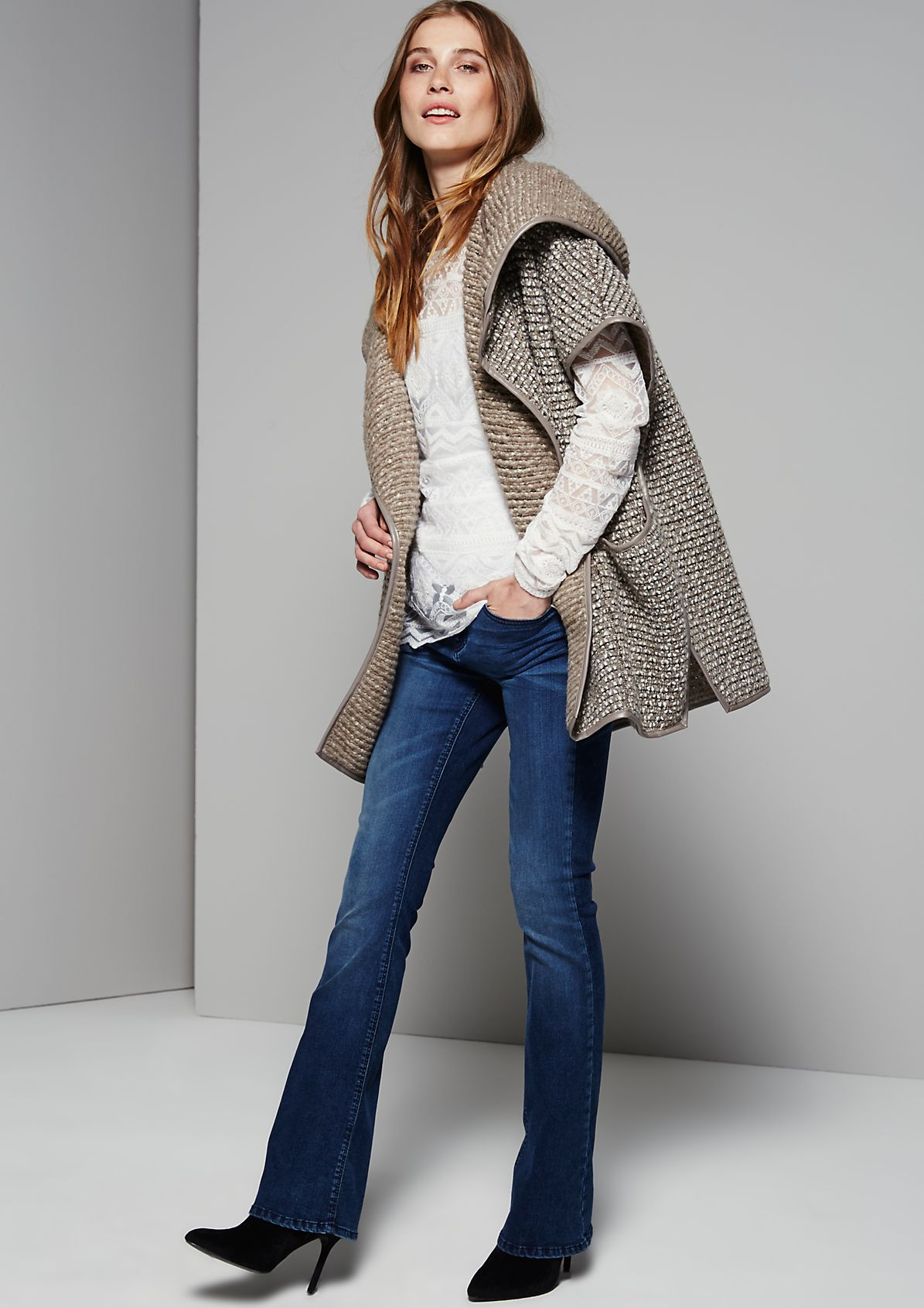 Casual cardigan with fine details from s.Oliver
