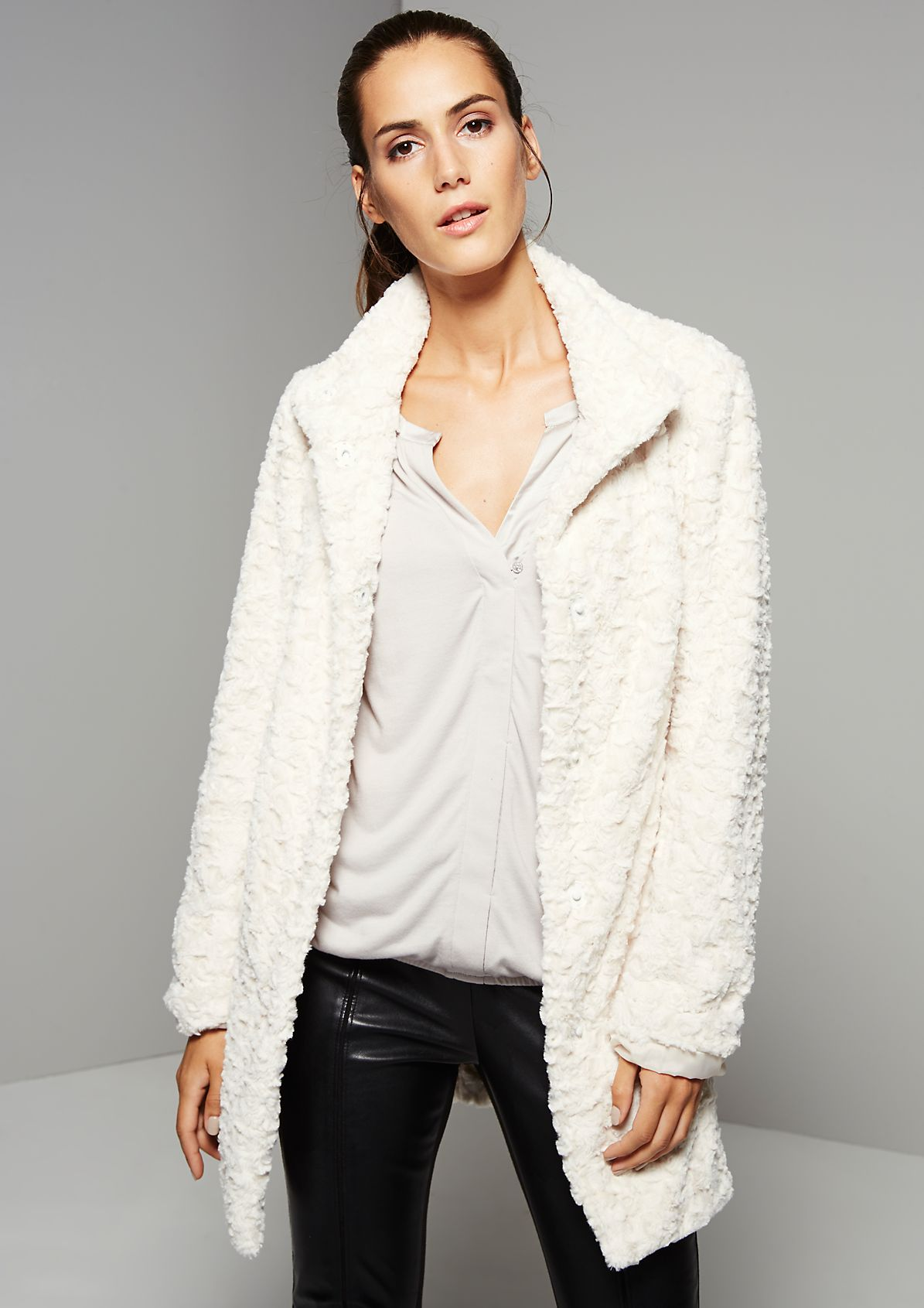 Warm coat made from fluffy fake fur from s.Oliver