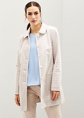 Elegant satin coat with a whimsical all-over minimal pattern from s.Oliver