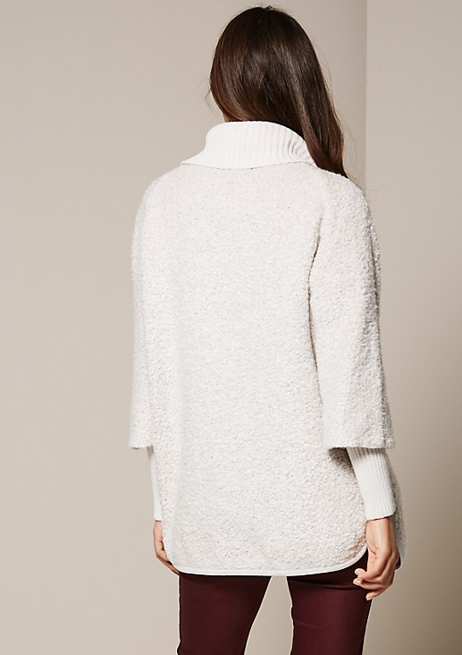 Eye-catching bouclé jacket with a wide turn-down collar from s.Oliver