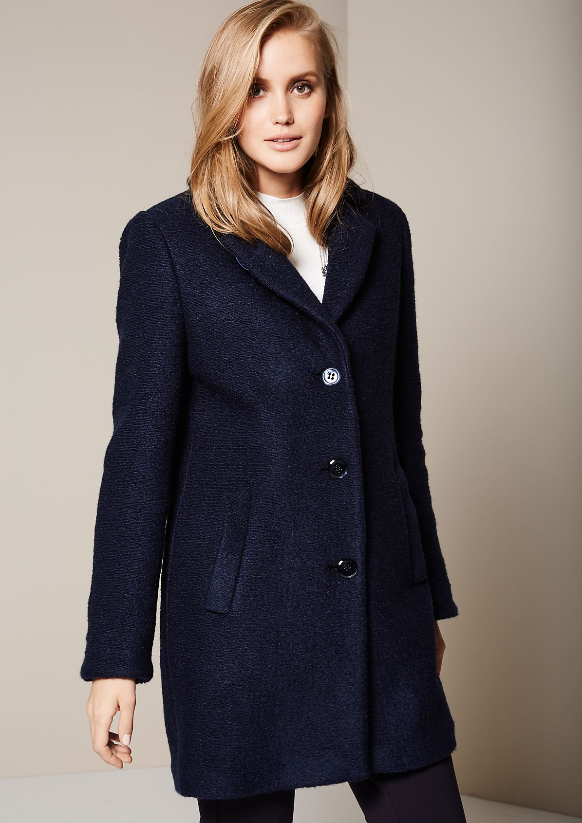 Cosy bouclé coat with beautifully detailed work from s.Oliver