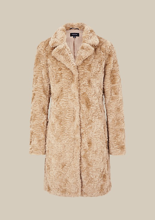 Elegant coat made of cosy fake fur from s.Oliver