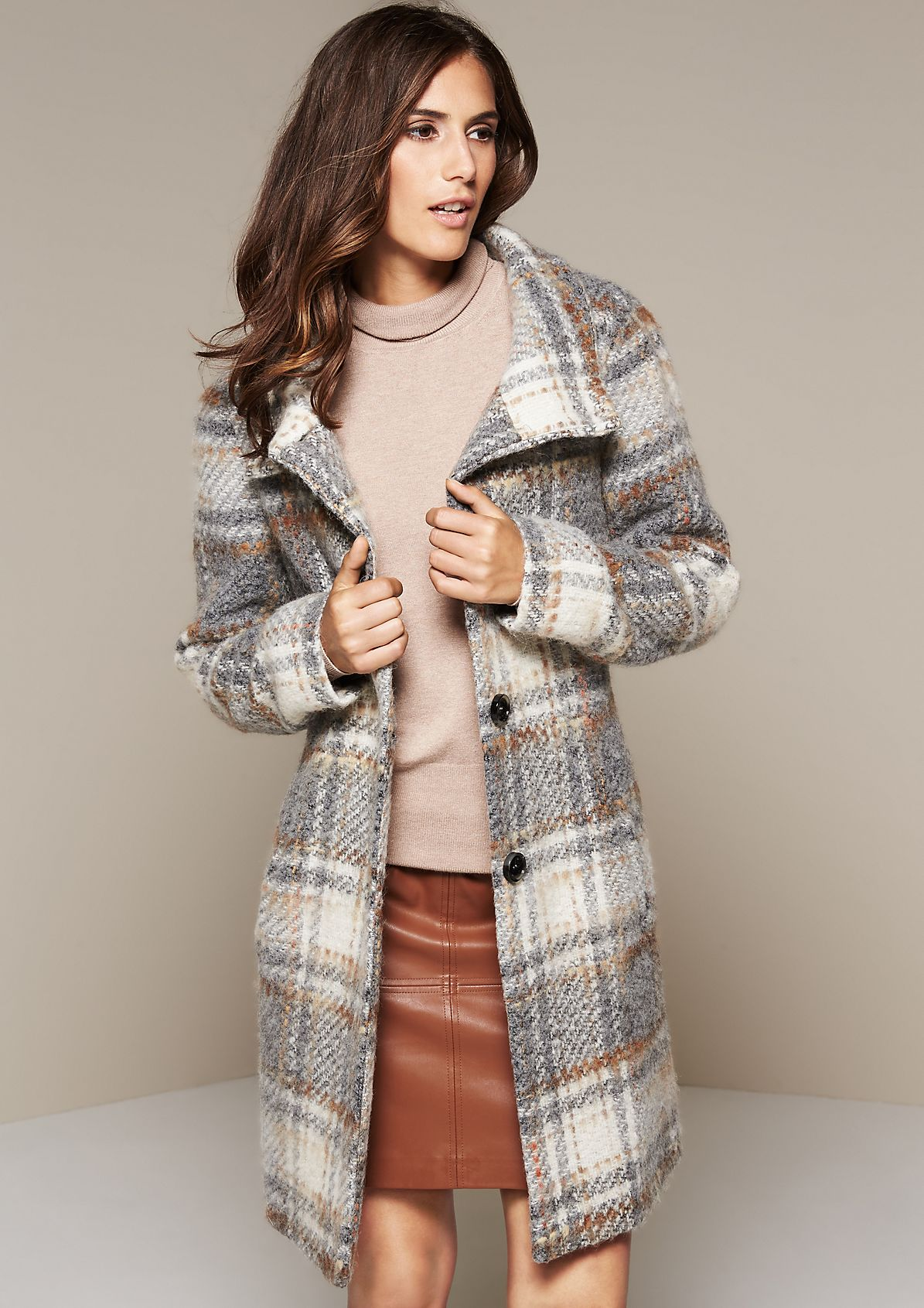 Warm woolly winter coat with a beautiful pattern from s.Oliver