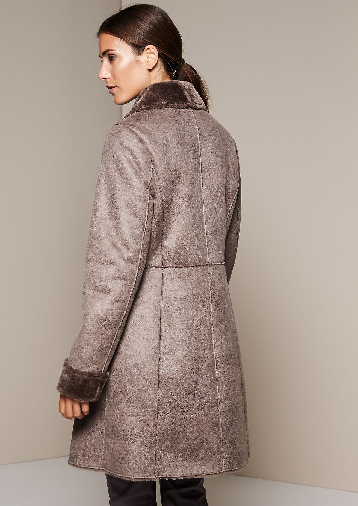 Warm suede coat with fake fur lining from s.Oliver