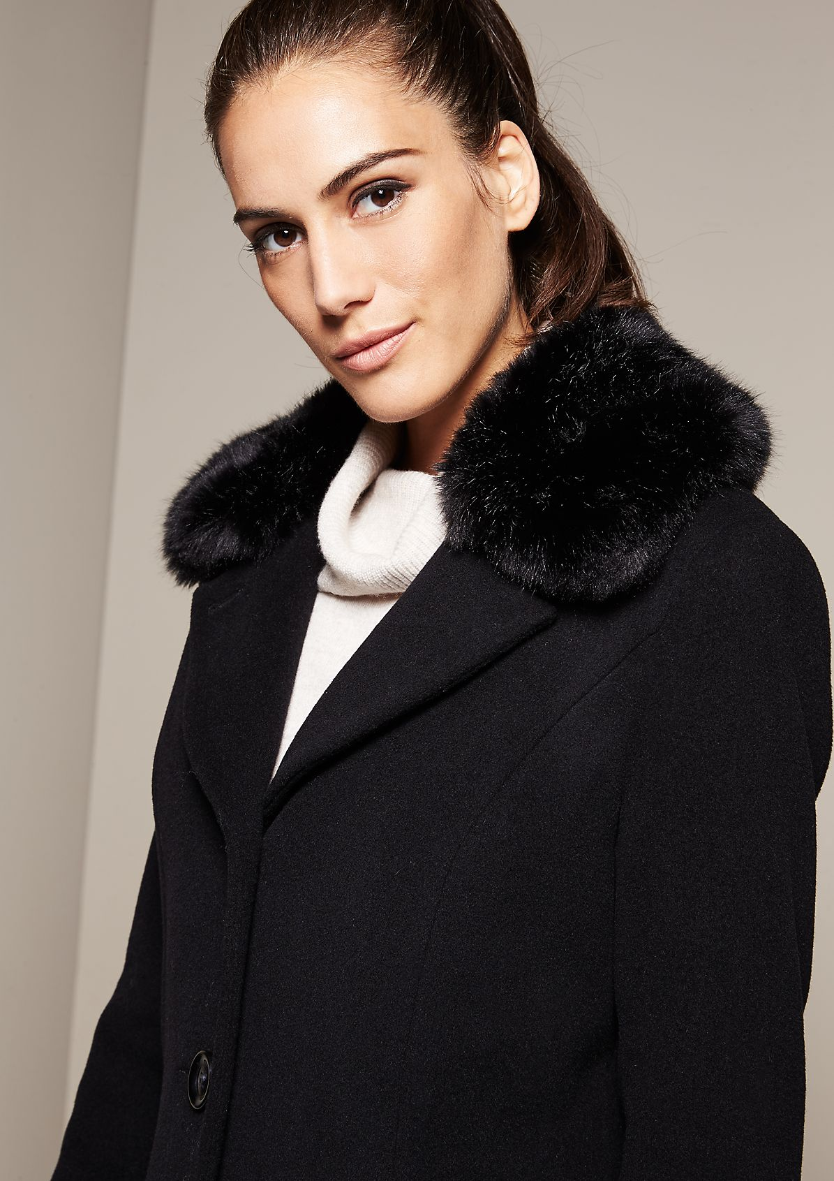 Warm wool coat with a fake fur collar from s.Oliver