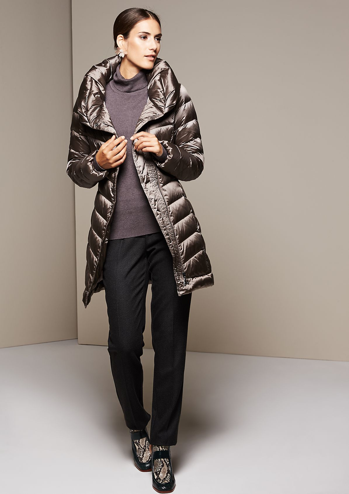 Lightweight down coat with a high stand-up collar from s.Oliver