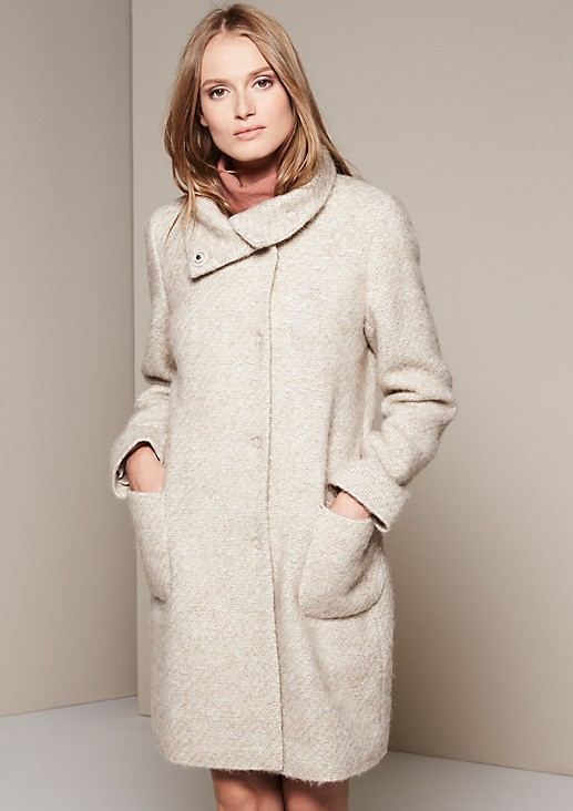 Woolly, warm winter coat with a decorative pattern from s.Oliver