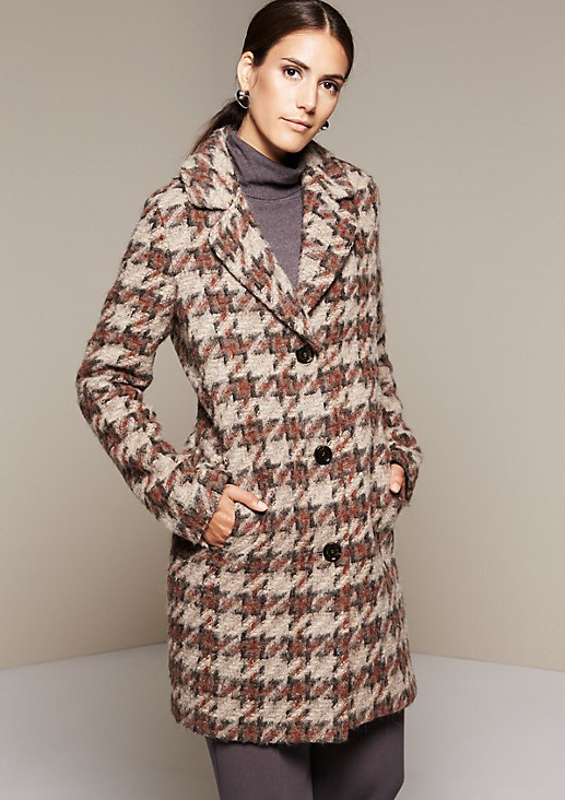 Woolly winter coat with a pepita pattern from s.Oliver