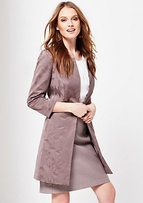 Elegant coat with a fine jacquard pattern and 3/4-length sleeves from s.Oliver