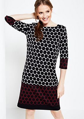 Extravagant 3/4-sleeve dress with an all-over op art pattern from s.Oliver