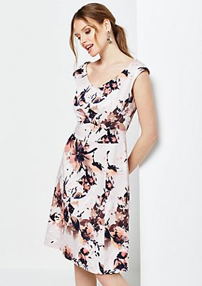 Extravagant satin dress with exciting floral print from s.Oliver