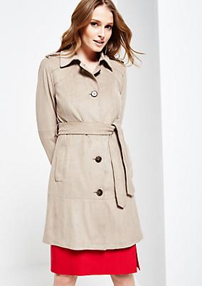 Eleganter Fake-Suede Mantel mit schönen Details