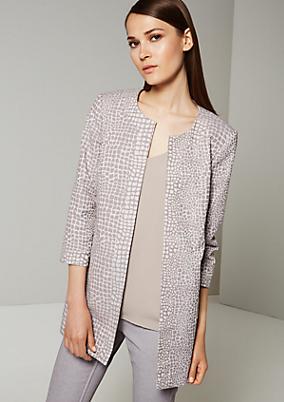 Eleganter Jacquardmantel mit metallisch glänzendem Muster