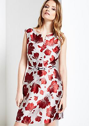 Elegantes Abendkleid mit farbenfrohem Jacquard-Floralmuster