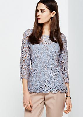 Extravagantes 3/4-Arm Shirt aus hauchzarter Spitze
