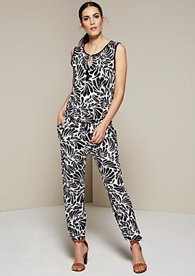 Glamouröser Jumpsuit mit dekorativem Allovermuster