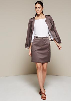 Kurzer Businessrock mit elegantem Minimal-Jacquardmuster