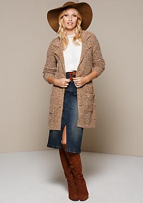Kuschelige Bouclé-Strickjacke mit aufgesetzten Taschen