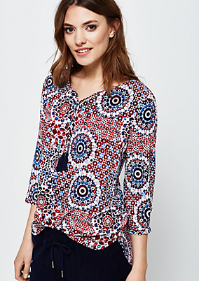 Lässige 3/4-Arm Bluse mit dekorativem Alloverprint