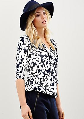 Lässiges 3/4-Arm Shirt mit abstrakt gehaltenem Floral-Alloverprint