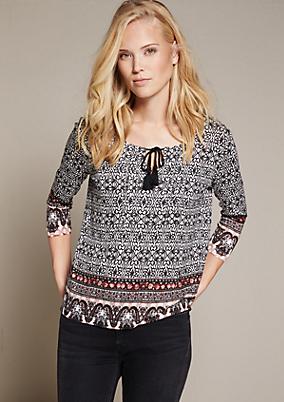 Lässiges 3/4-Arm Shirt mit schön gestaltetem Mustermix