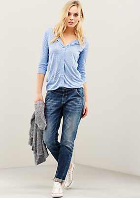 Legere 3/4-Arm Bluse mit Minimal-Allovermuster