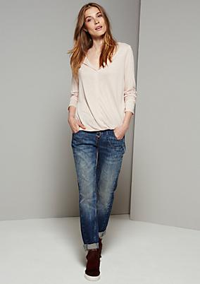 Schöne 5-Pocket Jeans in rauer Used-Optik